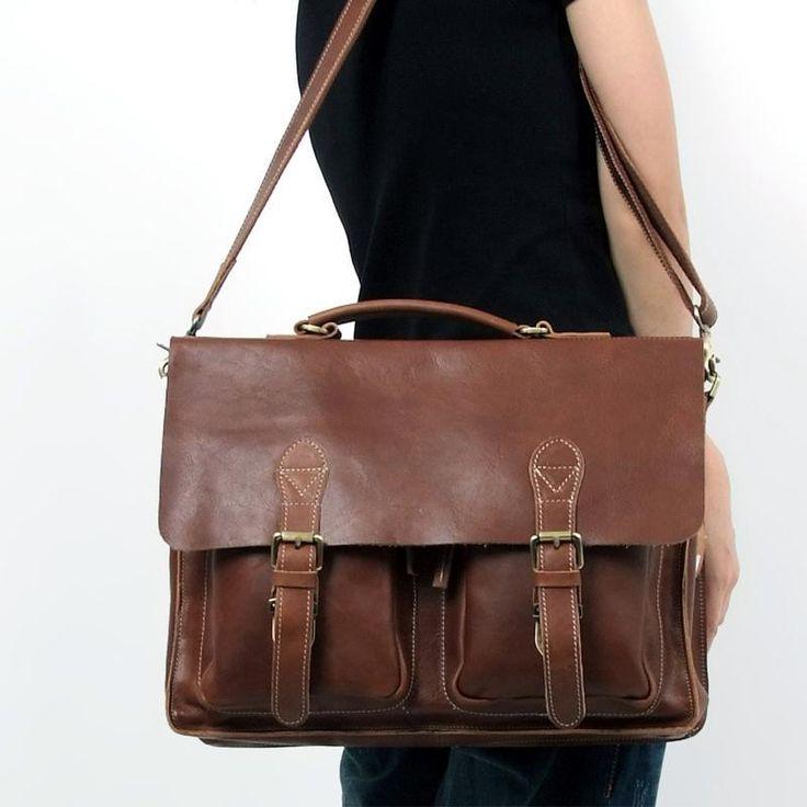 "Handmade Leather Briefcase / Messenger / 14"" 15"" Laptop 13 ..."