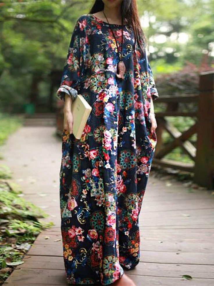 Vintage Women Long Sleeve Floral Printed Loose Long Maxi Dress Online - NewChic