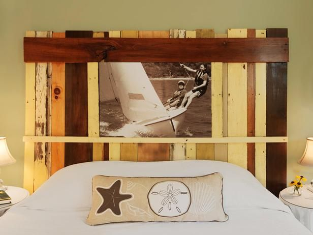 Another cool headboard using salvaged wood pieces. And then you can build in a custom frame and change out the photo or picture whenever you want!
