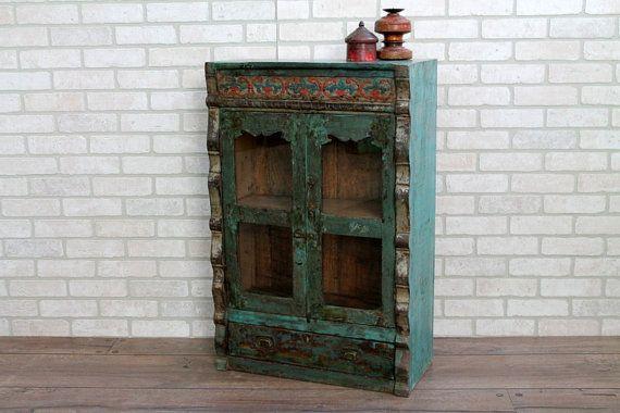 Small Bar Cabinet Restored Antique Indian Cabinet Curio Cabinet Bathroom Cabinet Media Cabinet Moroccan Decor Mediterranean Decor