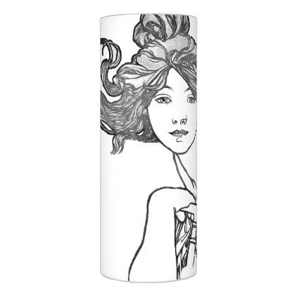 Mucha Art Nouveau Lady Bicycle Flameless Candle - vintage romantic gifts ideas diy