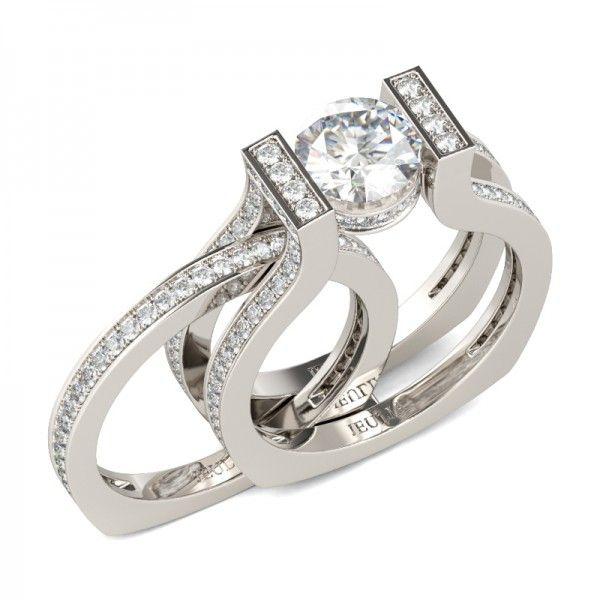 Interchangeable Tension Round Cut Created White Sapphire Wedding Set