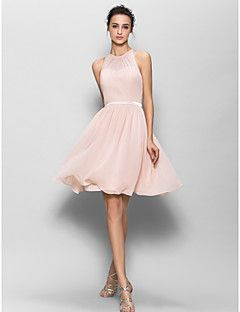 Vestido de Dama de Honor - Rosa Perla Corte A Escote Joya - Hasta la Rodilla Georgette