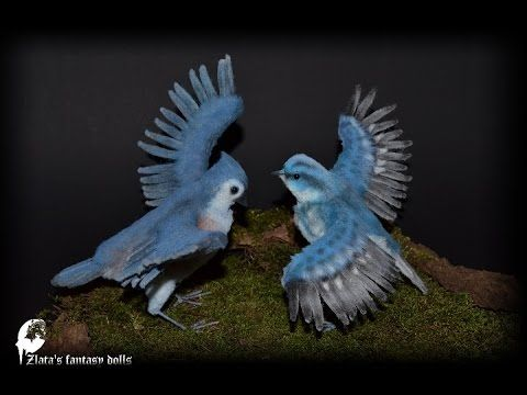 Birds  Tufted Titmouse and Cerulean Warbler Soft Sculpture by Zlata's fa...