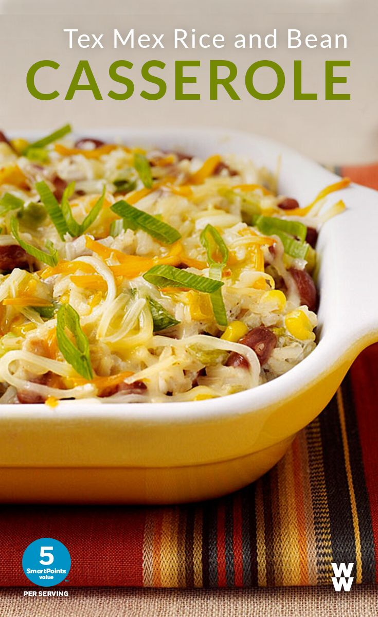 Tex Mex Rice & Bean Casserole: 5 SmartPoints value | Crank up the flavor & the spice at dinner tonight with this fun recipe, complete with Weight Watchers shredded Mexican cheese.
