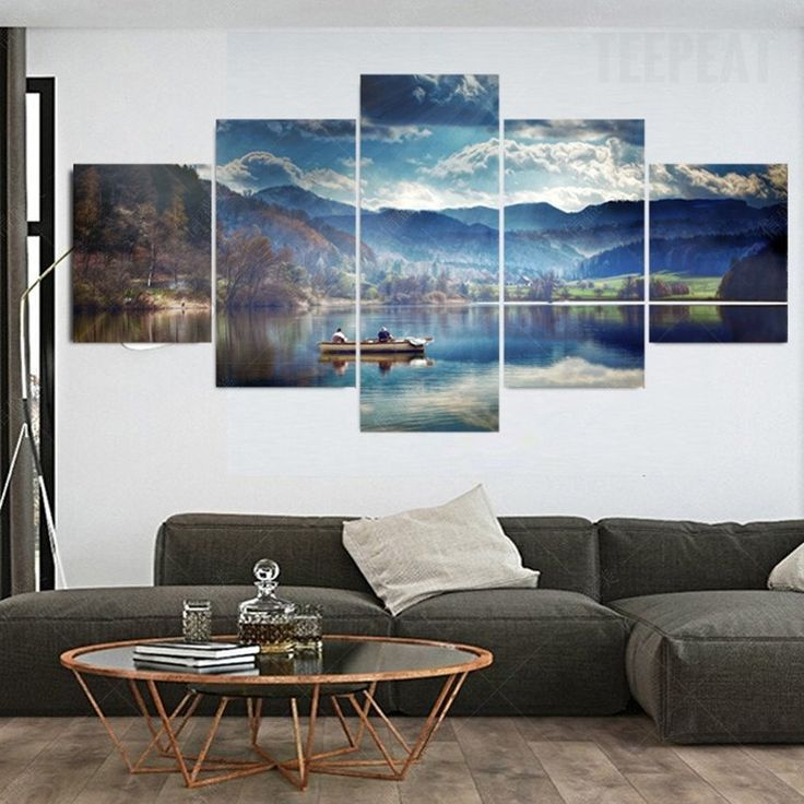 The boat the mountains and the lake 5 piece canvas
