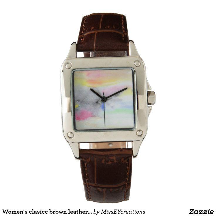 Conception de montre de bracelet en cuir de brun