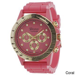 Geneva Platinum Women's Silicone Strap Watch | Overstock™ Shopping - Big Discounts on Geneva Platinum Geneva Women's Watches