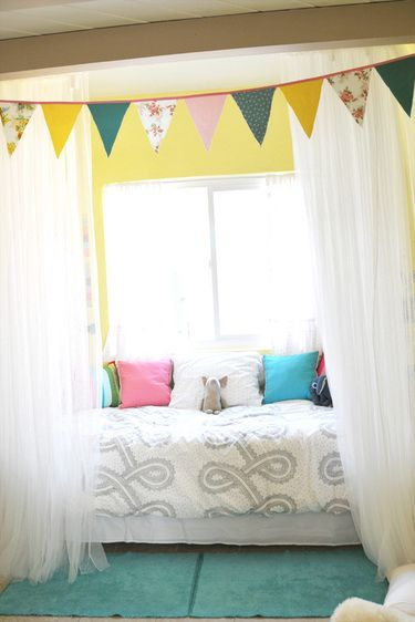 Like the idea of creating a 'bed fort': Sweet, Girls Room, Room Ideas, Playroom, Room Design, Bedroom, Kids Rooms