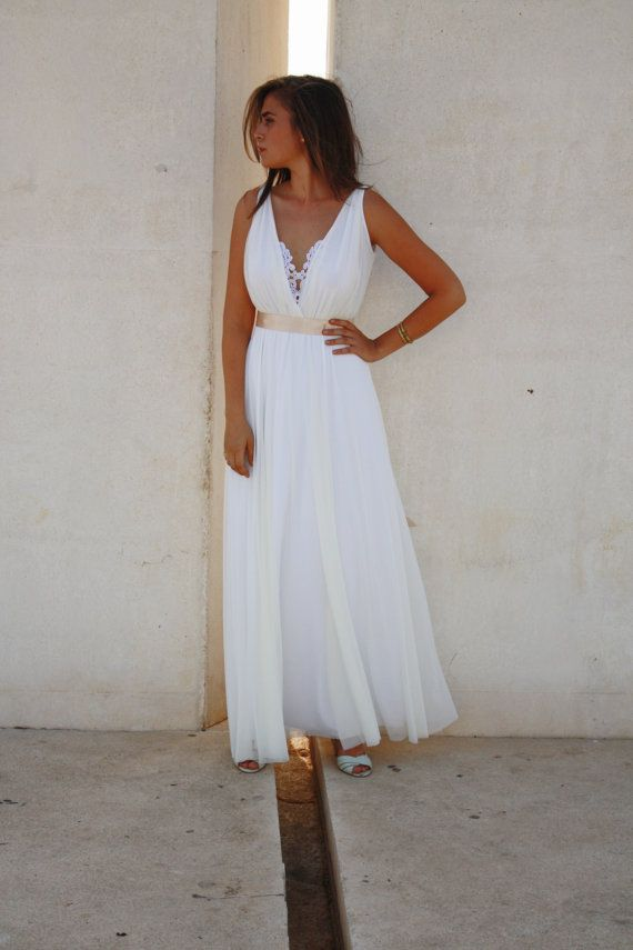 wedding dress deep V neck  with embroidery by Barzelai on Etsy, $260.00