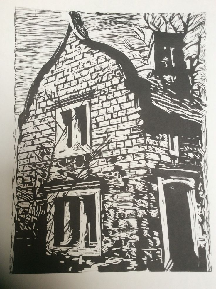 Linocut of gate house at Firbeck Hall