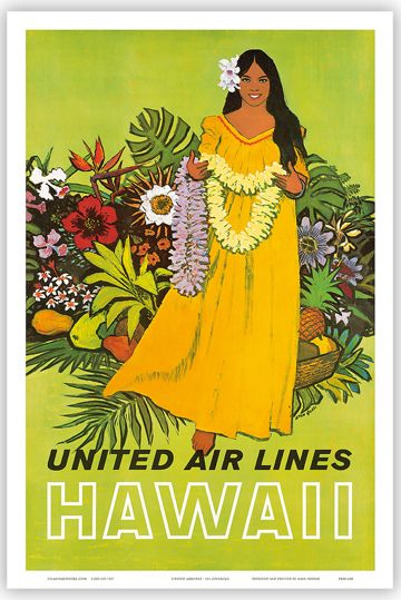 Vintage+Art+Posters | Hawaiian Vintage Art Poster Hawaii United Airlines Hula | eBay