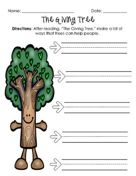 "Freebie! Follow-up comprehension activity to ""The Giving Tree."" Ties in with environmental literacy unit and earth day."