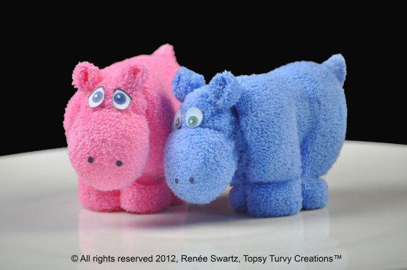 Hipopótamo de la toallita WashAgami ™ para por TopsyTurvyDiaperCake                                                                                                                                                                                 Más