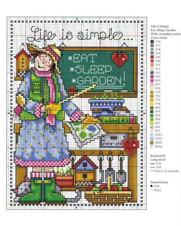 0 point de croix femme tableau la vie est simple - cross stitch lady board, life is simple