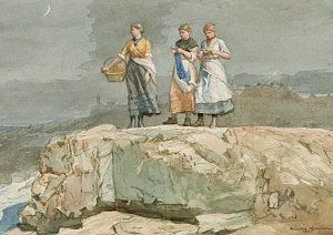Knitting Painting - The Cliffs by Winslow Homer