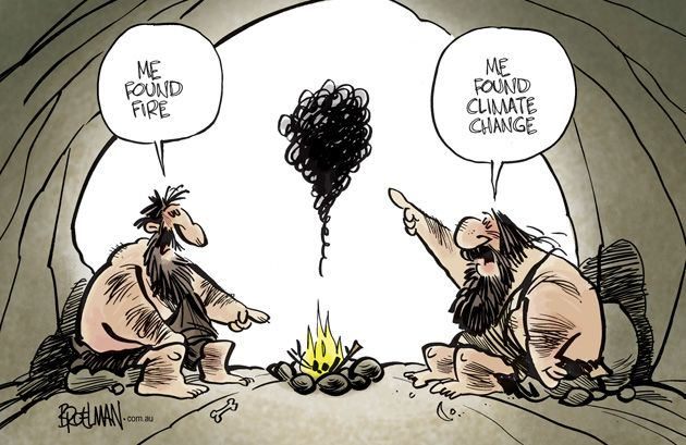 Early man discovers fire and climate change | Cartoon by Broelman