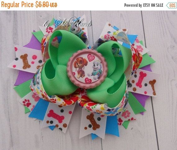 ON SALE Paw Patrol Everest & Skye - Paw Patrol Birthday - Over the Top Bow - Paw Patrol party - Girls Hair Bows
