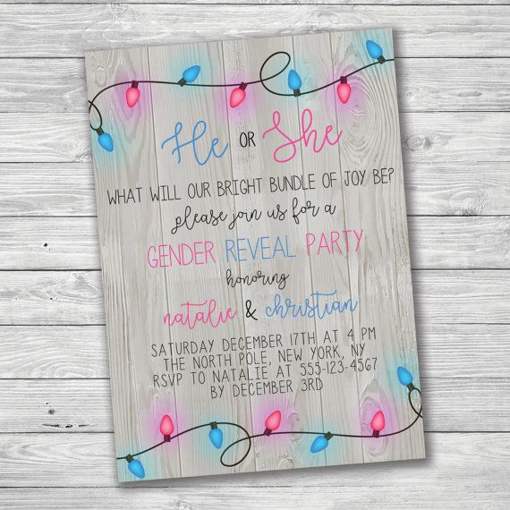 Winter Gender Reveal Invitation Christmas Lights by PrimePaperie