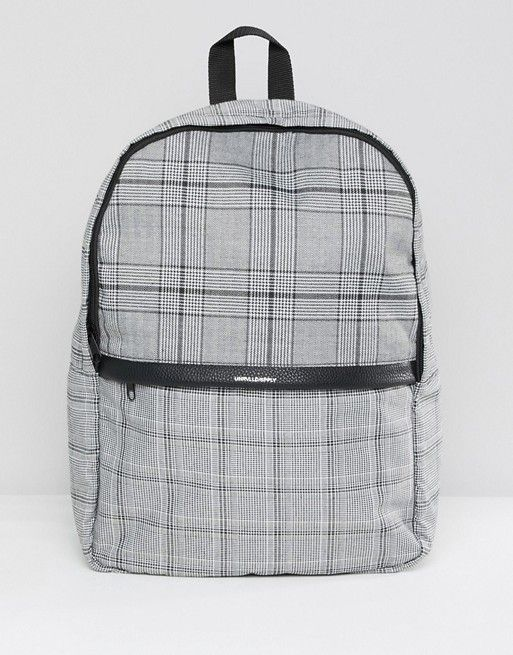 42a52328d16 ASOS DESIGN backpack in gray check print