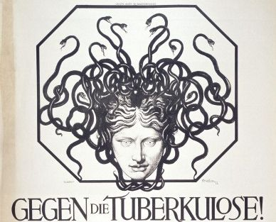 Tuberculosis: the head of the Medusa representing the disease, and advertising an exhibition against tuberculosis in Basel. 1913 lithograph. WI no. L0034019
