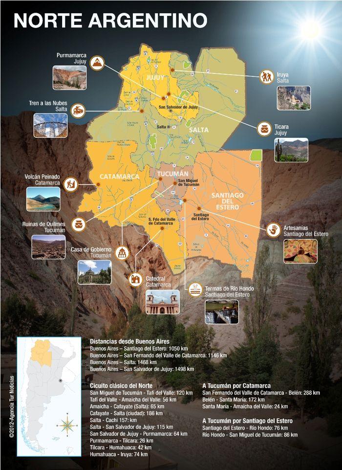 Mapa del Norte argentino con sus atractivos turísticos y circuitos más conocidos.