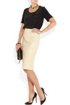 Cream Leather Pencil Skirt | Jill Dress