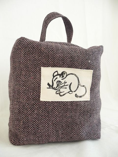 Door Stop with Lino Printed Mouse by English Girl at Home, via Flickr