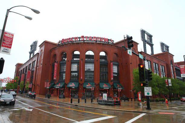 An Exterior View Of Busch Stadium As The Game Between The St Louis Busch Stadium Stadium Design Stadium