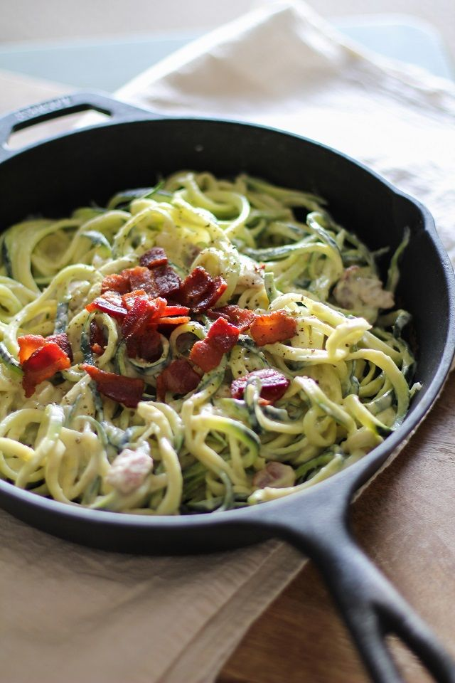 Zucchini noodles with healthy dairy-free carbonara sauce. You're never going to believe the trickery that went into these noodles. I made cream-less, cheese-less pasta carbonara using cauliflower o...
