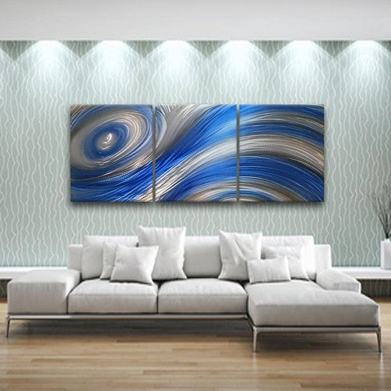 Blue Modern Metal Wall Art Contemporary Wall Sculpture Abstract