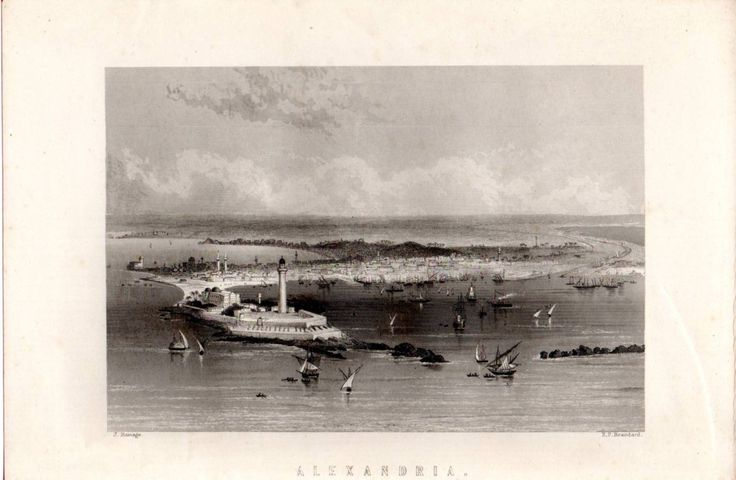 1880 Print ~ Port Of Alexandria Egypt ~ Lighthouse Ships Etc