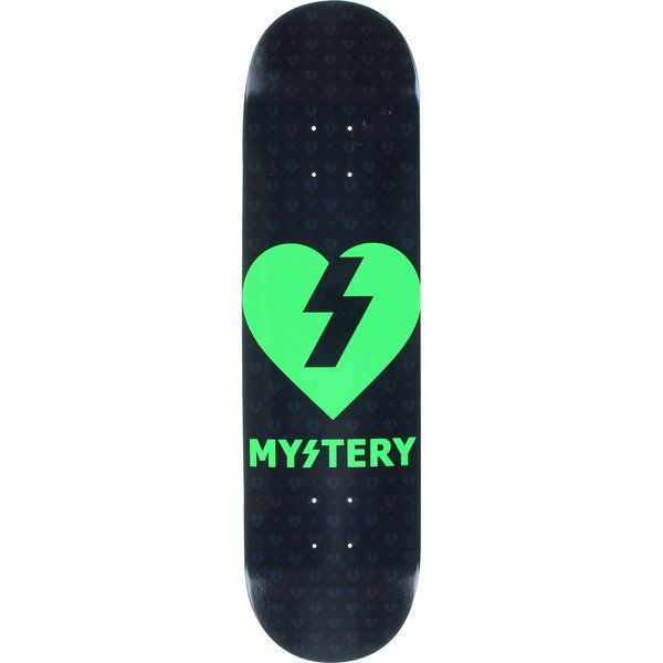 Mystery Skateboards Heart Black/Neon Green Skateboard Deck - now at Warehouse Skateboards! #skateboards #whskate