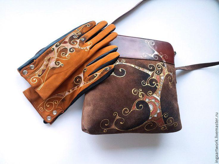 """Купить Комплект """"Дерево жизни"""". Ручная роспись. Натуральная кожа. - сумка, сумка из натуральной кожи"""