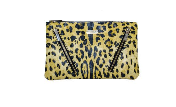 Leopard leather clutch by MONAObags on Etsy