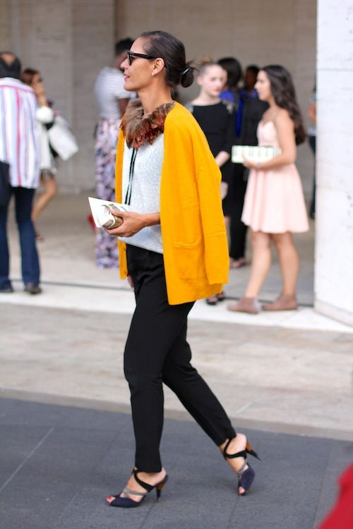 - A PIECE of TOAST - Looks at LincolnCenter: Feathers Necklaces, Marlien Rentmeest, Street Style, Black White, Feathers Collars, Yellow Jackets, Black Pants, Bright Colors, Pheasant Feathers