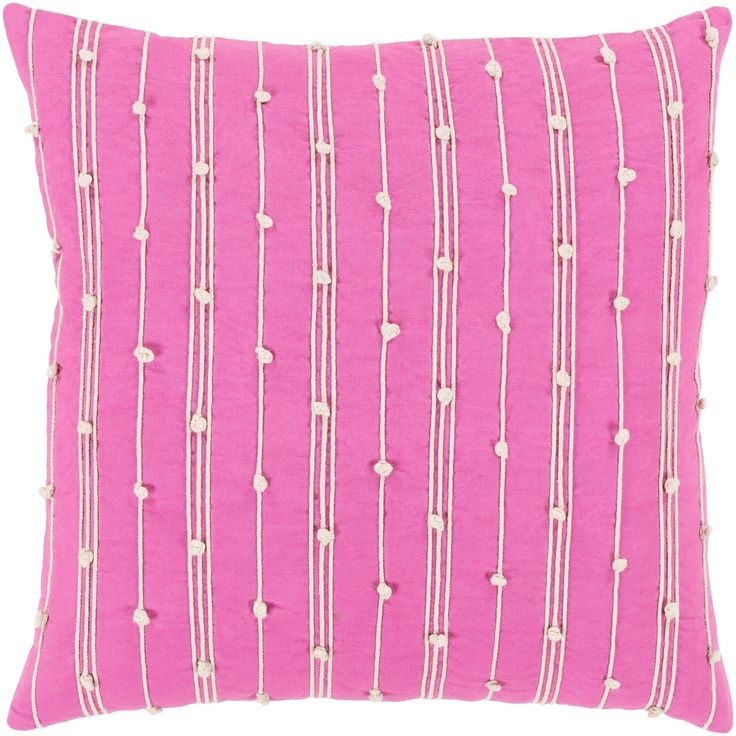 """Raya Coastal Striped Bright Pink Pillow - (Down/Poly Fill 22"""" x 22"""") (Polyester - Accent), Size 22 x 22"""