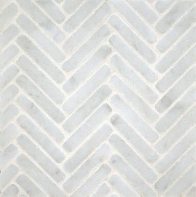Ann Sacks Stone Mosaics  I'm a nut for herringbone patterns and I love this tumbled marble one for a bathroom or inset behind a stove.