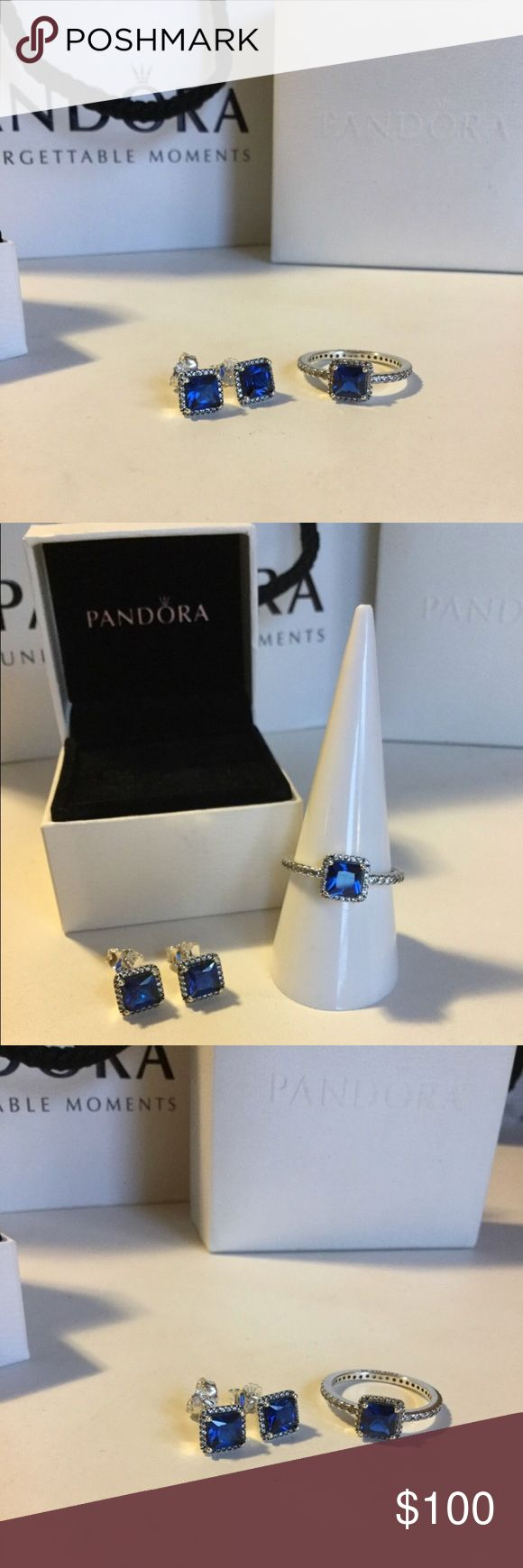 Pandora Timeless Elegance True Blue Set Pandora Timeless Elegance True Blue Crystal Ring and Earrings set.  Size 7 ring.   Included:  Pandora Elegance True Blue Crystal Earrings ($85 original $) and Pandora Elegance True Blue Crystal Ring ($76 original $) - size 7/54 Retails for $160 plus tax in stores.  Make an offer! Pandora Jewelry Rings