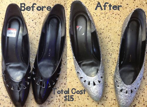 before and after diy glitter shoes tutorial, I don't think I'd use Goodwill shoes without treating them first though.....