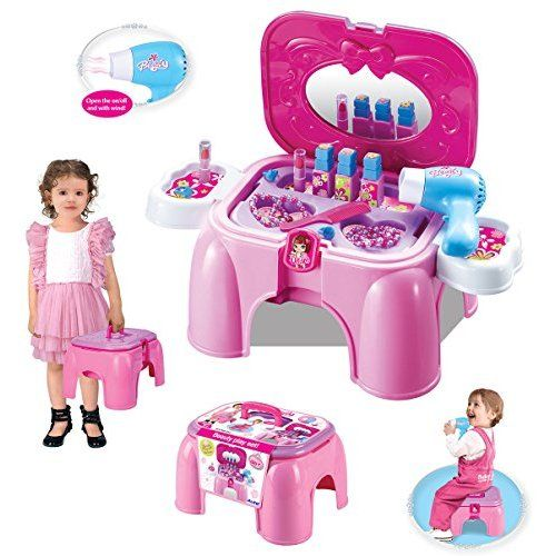 (NDPRW) deAO® Girls Dressing Table Play Set with 26 Piece of Accessories