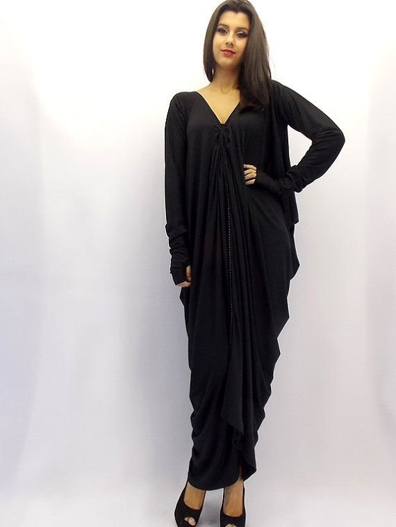 Black Plus Size Dress / Maxi Dress / Black Kaftan / by Teyxo, $79.00