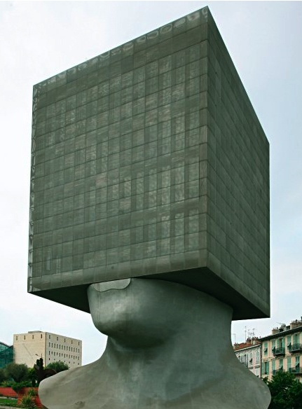 la tête carrée (the square head) library in nice, france, designed by sacha sosno. 30m high x 14m wide.