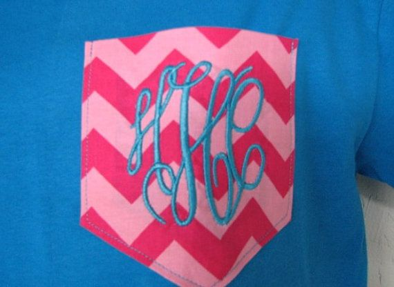 Monogram Pocket T shirt Monogrammed Gifts    Multi-Color Chevron Pocket t-shirt with personalized embroidered monogram of your choice. Perfect gift idea as wedding gift, birthday, Christmas or Mothers Day, etc. The pocket can be made faux (nonfunctional) or functional.  Let us design your pocket tee with YOUR CHOICE of tee color, fabric, thread color for monogram, and monogram font color. Note: Color placement on pockets may differ.  We offer short and long sleeve shirts.  Click here for…