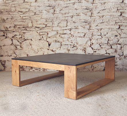 square oak and cornish slate coffee table