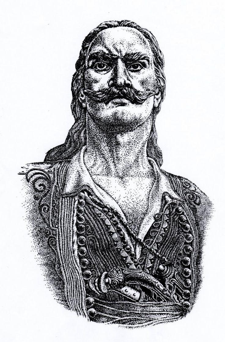 Γρηγόρης Λιακατάς - Στρατηγός, έπεσε με 300 παληκάρια στο Ντολμά του Αιυωλικού 28 Φεβρ. 1826. Σκίτσο, με πενάκι, του Απ. Σ. Μπλίκα