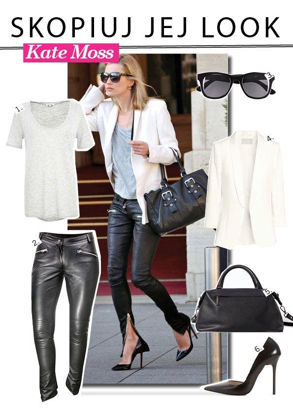 Kate Moss skórzane spodnie rockowy styl