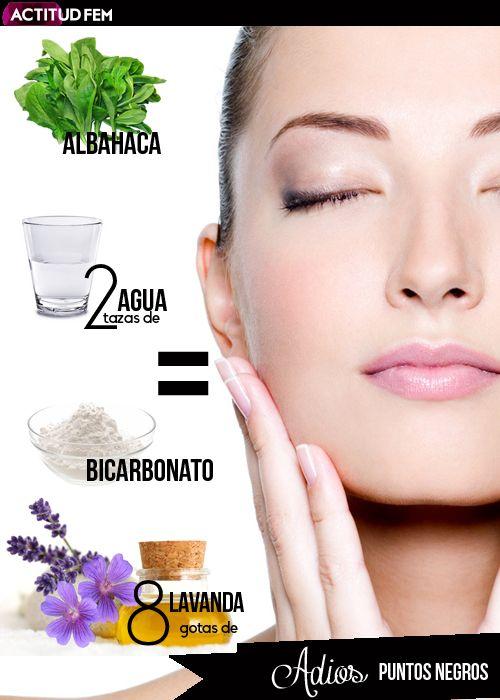 2 tazas de agua + 8 gotas de aceite de lavanda + albahaca + bicarbonato = Remedio natural para los puntos negros