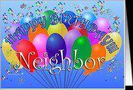 Happy Birthday Neighbor Cheerful Colorful Party Balloon birthday bunch .