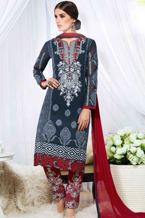 Designer clothes, Trouser georgette asian suits, Blue resham embroidered andaaz apparel now in shop. Andaaz Fashion brings latest designer ethnic wear collection in UK      http://www.andaazfashion.co.uk/salwar-kameez/trouser-suits/blue-georgette-trouser-suit-with-dupatta-dmv14123.html